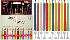 12 Angel Flames Multi Coloured Birthday Cake Party Magic Candle Novelty Xmas Fun