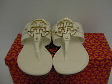 Women's tory burch slippers amanda flat thong tumbled leather bleach size 9.5