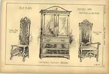 1903 Saleroom Sketches Chippendale Wardrobe Charles I Chairs