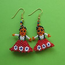 HIPPIE TRIBAL FESTIVAL FRIENDSHIP BEAD WOMAN EARRINGS BOHO INDIAN FLORAL RED