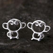 925 Sterling Silver - Chic Cute Korea Hollow Monkey Lady Club Earrings Jewelry