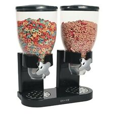 Black Double Canister Dry Cereal Dispenser Organizer Goods Candy Nuts Oatmeal
