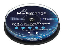 10 MediaRange Bluray BD-R Rohlinge 50 GB DL Dual Layer 6x fach