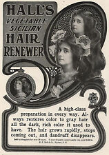 1904 Ad Hall's Vegetable Sicilian Hair Renewer No More Gray--Or Pears Soap
