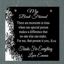 Personalised Shabby Best Friend Sister Nanny Wife Auntie Chic Plaque Gift