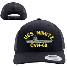 USS NIMITZ CVN-68 SHIP MESH TRUCKER SNAP CLOSURE CAP HAT BLACK RETRO