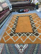 "VINTAGE BLOOMINGDALES REGAL NYLON SHAG RUG 5'2"" X 8'6"" CONTEMPORARY ORANGE BROWN"