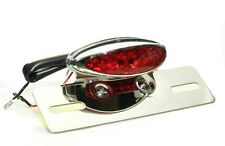 Cafe Racer LED Motorcycle Chrome Rear Light & Number Plate Bracket Red Lens