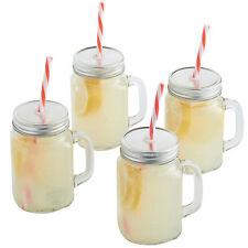 Vonshef Set di 4 MASON vetro bere BARATTOLI 450ml Con Cannucce, coperchi e maniglie