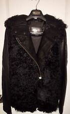 Women's Mackage Jacket Coat Genuine Sheepskin Fur & Leather Sleeves Black XSmall