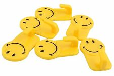 Plastic Self-Adhesive Smiley Face Hooks, 1 Kg Load Capacity, 6 Piece Set