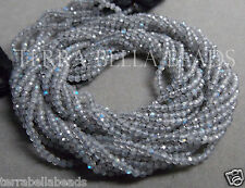 "Full 13"" strand AAA LABRADORITE faceted gem stone rondelle beads 2mm blue green"