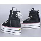 Womens Platform High Top Zip Fashion Sneakers Shoes Ankle Boots Black US 5.5~9
