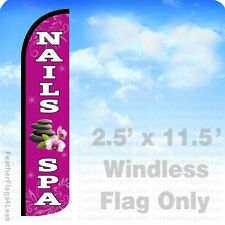 2.5x11.5 WINDLESS Swooper Feather Flag Banner Sign - NAILS & SPA pz