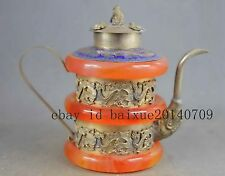 Collectible Handwork Old Miao Silver Carving Dragon Inlay Jade Exorcism Tea Pots