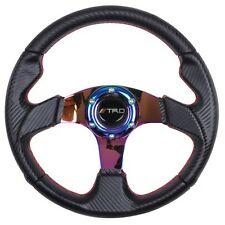 JDM 320mm Steering Wheel Red Stitching Carbon Finish Red Stitch TRD For Toyota