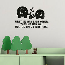Elephant Family Everything Love Nursery Kids Wall Art Stickers Decals Vinyl Home