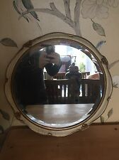 Original Vintage Circular Cream & Gilt Framed Mirror With Wall Hanging Chain