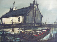 Sign Oil On Paper Bernard Buffet Style Marine Painting Fishing Boats
