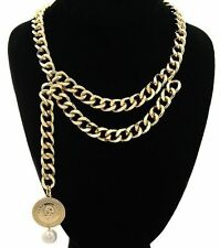 Gold PARIS COIN Double Link Chain Statement Necklace Link Chain-16""