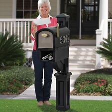 Large Rural Mailbox Post Mount Pedestal Heavy Duty Rain Overhang Black Mail Box