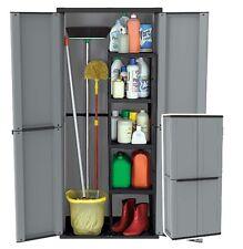 Garden Plastic Storage Cabinet 2 doors 4 Shelves Broom Holder Water Resistant