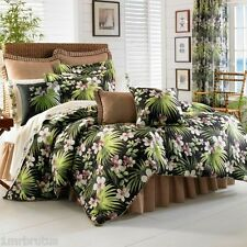 J Queen Seychelles Tropical TWIN Comforter Set Black Orchids Beach Guest Bedroom