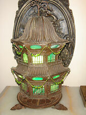 ANTIQUE ORIENTAL CAST BRONZE PAGODA CENSER STAINED GLASS TABLE LAMP
