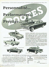 PUBLICITE ADVERTISING 096  1961  Rootes  Motors  la Humber Sunbeam Hilman Singer