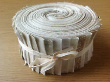 JELLY ROLL STRIPS 100% COTTON PATCHWORK FABRIC BEIGE / CREAM 25 PIECES