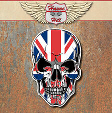 SKULL UNION JACK LAMINATED STICKERS x2 60x39mm UK Car Motorbike Triumph Helmet