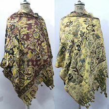 Reversible Indian Wool Wrap Shawl Scarf Stole Poncho Pashmina Cover Up T4