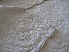3 pc taupe embroidered quilt, bedspread,  duvet, coverlet in King Queen & Double