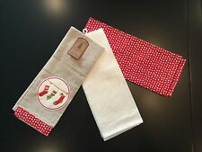 NWT Set Of 3 Embroidered Christmas Holiday Hanging Stocking Red Tan Tea Towels