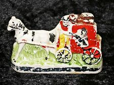 ANTIQUE COLD PAINTED BISQUE STAGECOACH CARRIAGE & HORSE FIGURINE
