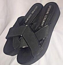 Opening Ceremony Cross Strap Platform Sandals Wedges in Black Sz 39 or 9 US