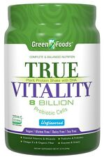 True Vitality Plant Protein Shake with DHA-Unflavored Green Foods 22.7 oz Powder