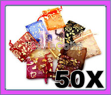 50 Organza Jewelry Gift Pouch Bags 7x9 Mixed Christmas Xmas Favor Wedding Small