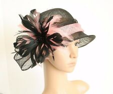 Small Church Kentucky Derby Wedding Cloche Sinamay Black/Pink Dress hat