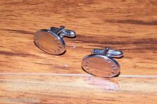 Genuine Pair of Swank Silver Tone Men's Oval Cuff Links Only **READ**