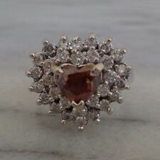 Size 6 14K White Gold Brown Cognac Heart Diamond Ring