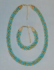 Hand-Woven Kumihimo Braided Gold & Turquoise Pearl Beaded Necklace Bracelet Set