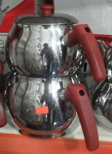 Stainless Steel Turkish Teapot  Double Kettle Caydanlik Family Size  ROUND SHAPE