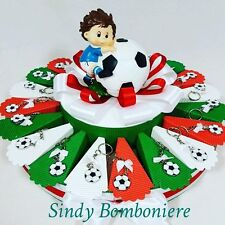 torta BOMBONIERA portachiavi pallone con salvadanaio calciatore nazionale CA153