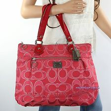 NEW Coach Poppy Signature Metallic Glam Glamour Tote Shoulder Bag 17890 Red RARE