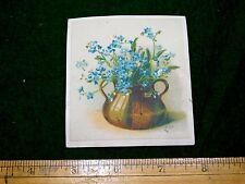 1870s-80s Bilyea & Kingsley, Watertown, NY Lovely Blue Flowers Vase Card F16