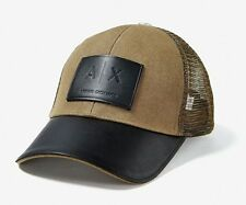 Armani Exchange AIX Men's Logo Patch Mesh Trucker Hat, Brown, One Size