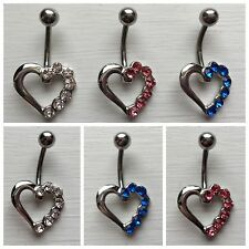 Belly bars bar navel ring body piercing crystal open hearts surgical steel 10mm