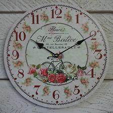 Shabby Chic French Vintage Bike Pink Round Wooden Wall Clock Bicycle & Roses