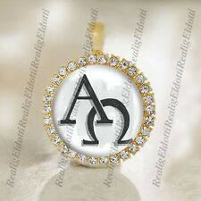 The Alpha and Omega symbols Christian Gold Tone Medal Pendant Religious Jewelry